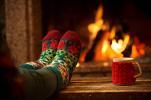fireplace with feet