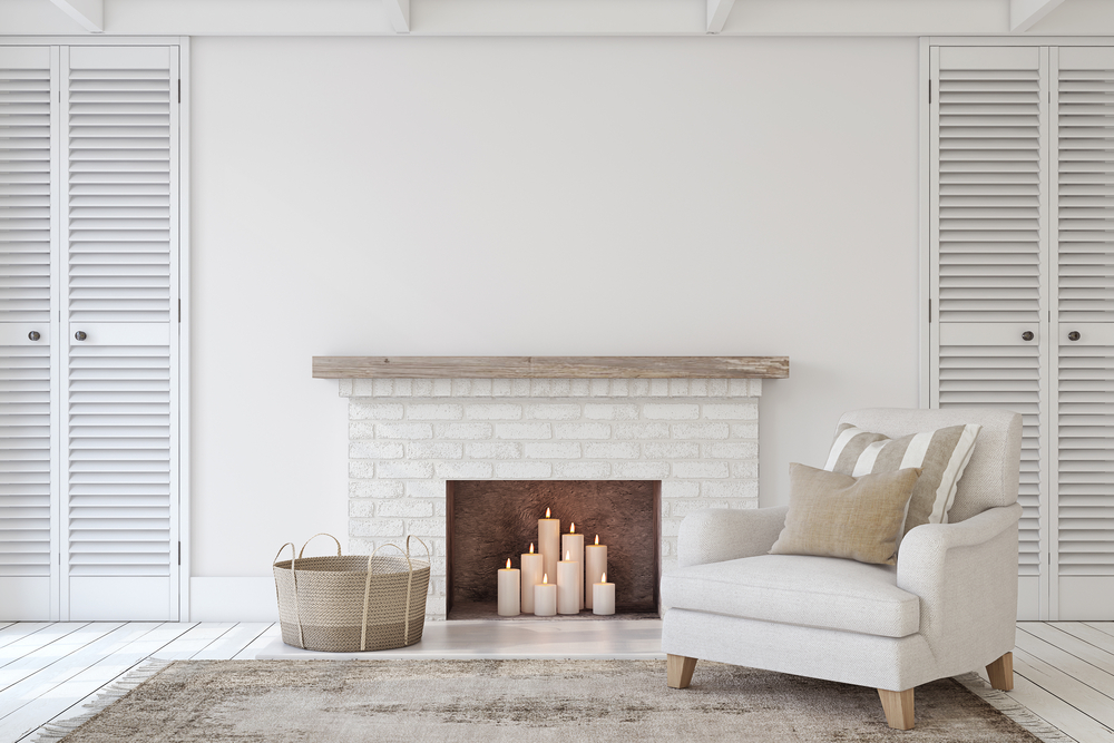 decorative fireplace with candle display